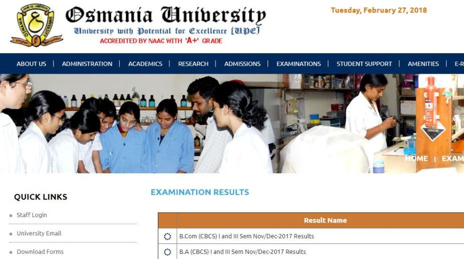 Osmania University, Annual Degree, Results 2018, BA results, B.Com results, B.Sc results, osmania.ac.in, manabadi.co.in