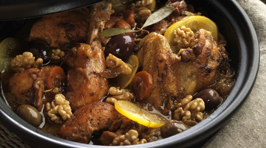Chicken Tagine with Lemon, Olives and Walnuts