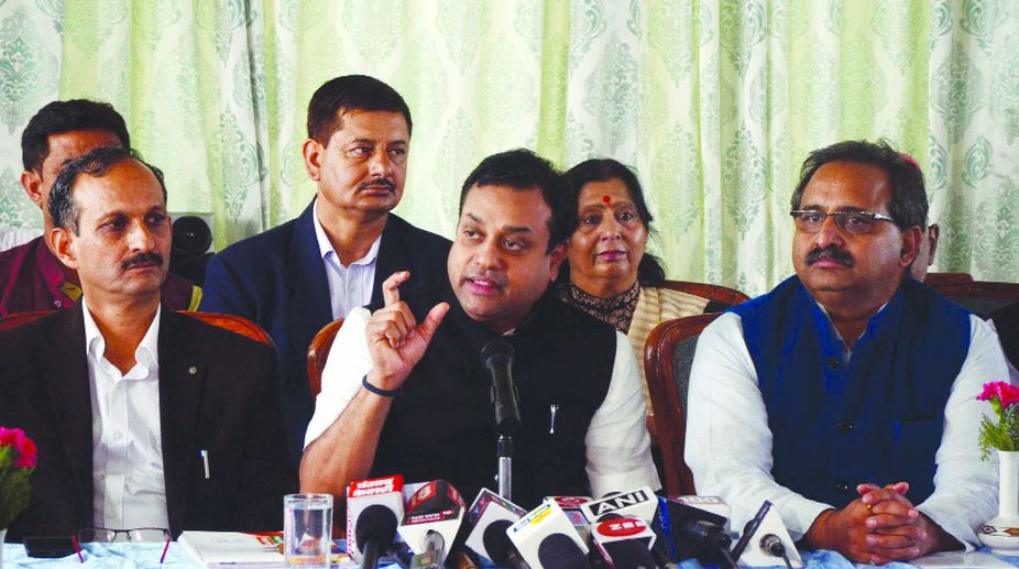 BJP spokesperson Sambit Patra addressing the media in Shimla on Saturday, (Photo: SNS)
