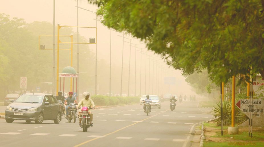 A view of the dust that covered Chandigarh on Friday. (Photo: Pardeep Saini)