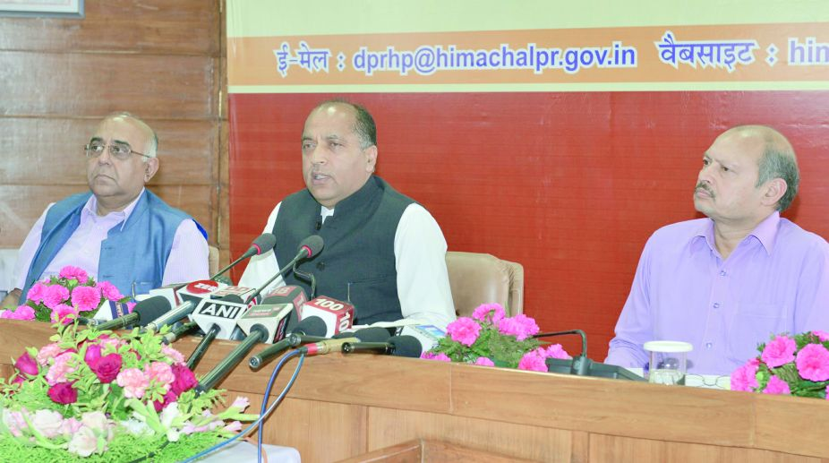Chief Minister Jai Ram Thakur addressing mediapersons in Shimla on Monday. (Photo: SNS)