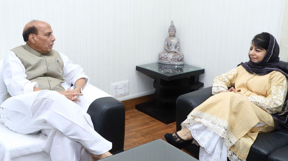 Mehbooba Mufti and Rajnath Singh