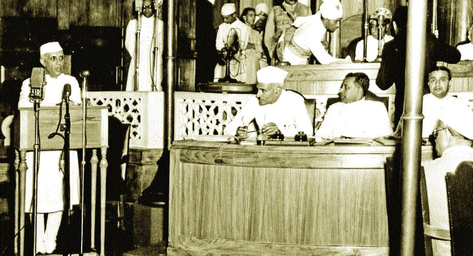 Nehru delivers his 'Tryst with destiny' speech on 15 August 1947