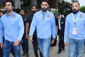 Ranbir Kapoor, Abhishek Bachchan, Jim Sarbh kick ball in Pune