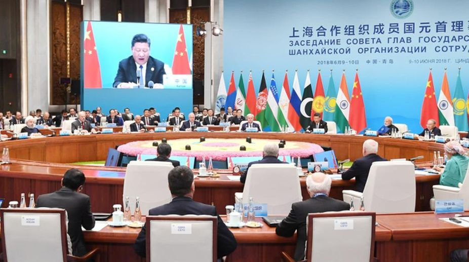 Chinese President Xi Jinping addressing the opening session of SCO summit at Qingdao on Sunday. (Photo: PIB)
