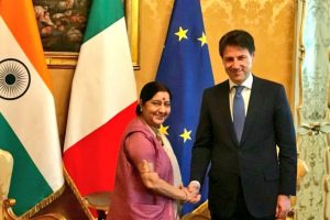 Sushma Swaraj discusses India-Italy ties with PM Conte