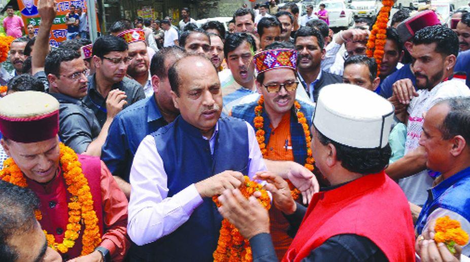 CM Jai Ram Thakur being greeted in Shimla on Saturday.