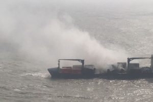 Indian Navy anchors burning merchant vessel SSL Kolkata at the Ganges Delta