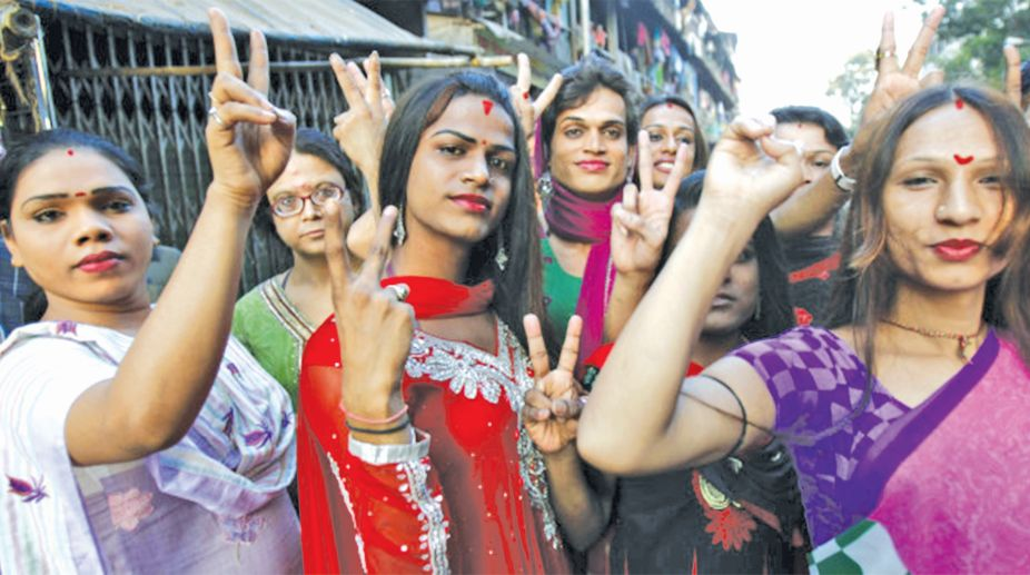 Indian transgenders in Mumbai delighted after the Supreme Court granted recognition to them as third category of gender on April 15, India. The court ordered the centre and the states to recognise transgenders as a class apart from male and female. (Photo: Imtiyaz Shaikh/Anadolu Agency/Contrbibutor)