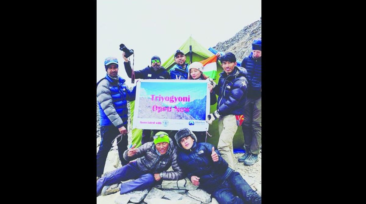 Chef Sanjay Thakur (inset) with friends on Mount Everest.