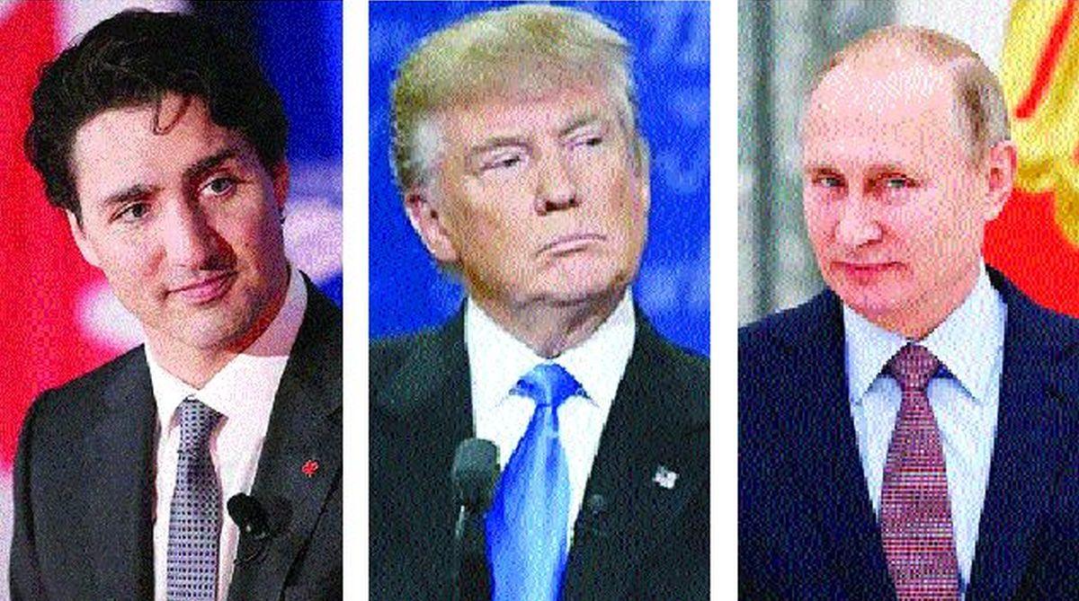 Prime Minister of Canada Justin Trudeau (Left) U.S. President Donald Trump (Center) Russian President Vladimir Putin (Right).