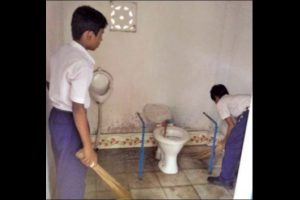 Engaging school children in toilet cleaning tasks triggers public outcry