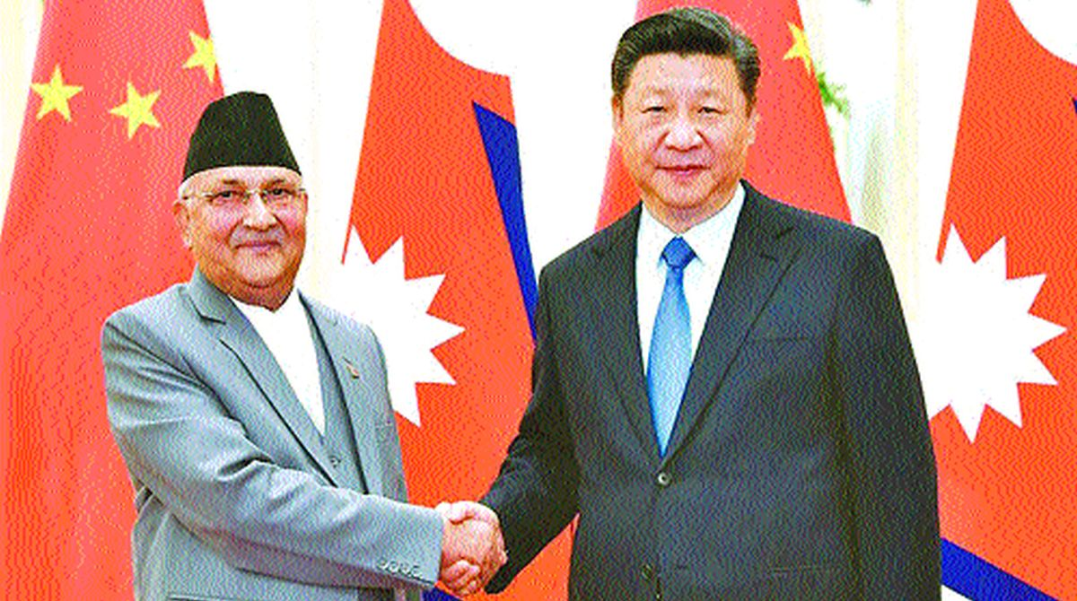Prime Minister of Nepal K.P. Sharma Oli and Chinese President Xi Jinping.