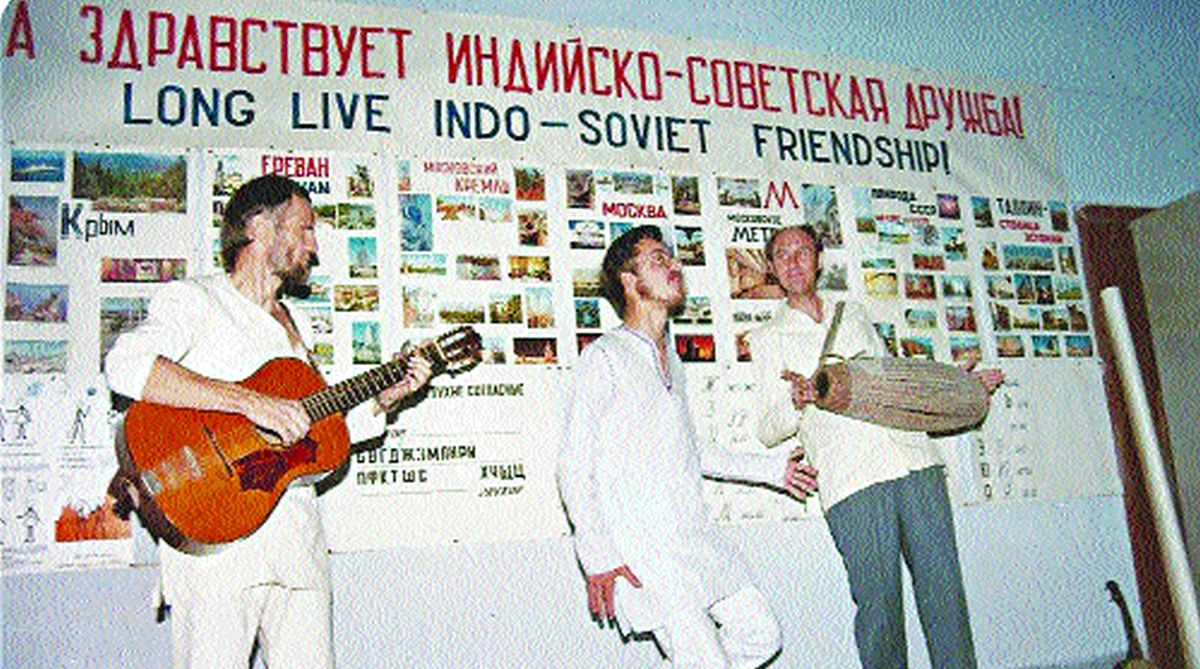 Herman van Hecke (left), Nigel Hughes (middle) and Jack Alderton (right) performing in an International Guest House Foreign Student function in 1986.
