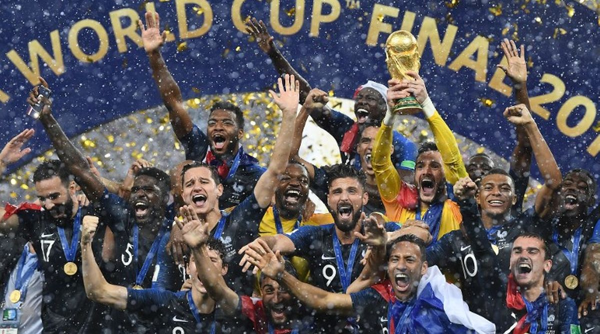 France with the FIFA World Cup 2018 trophy
