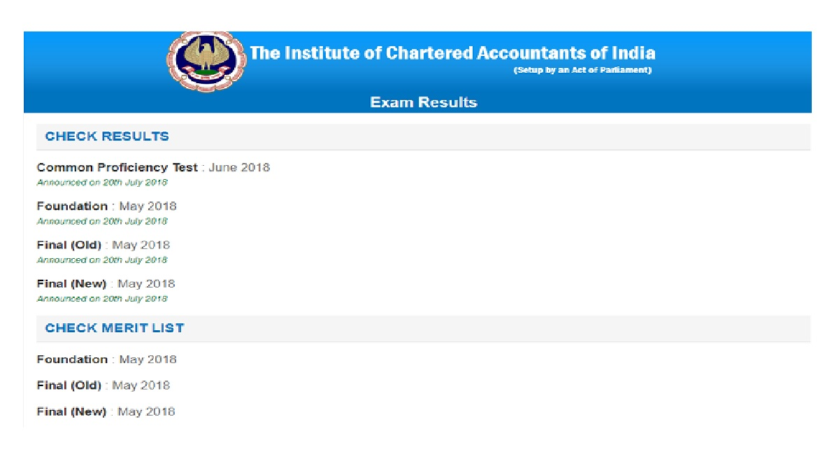 ICAI, CA final, CA foundation, CPT results 2018, icaiexam.icai.org, caresults.icai.org, icai.nic.in