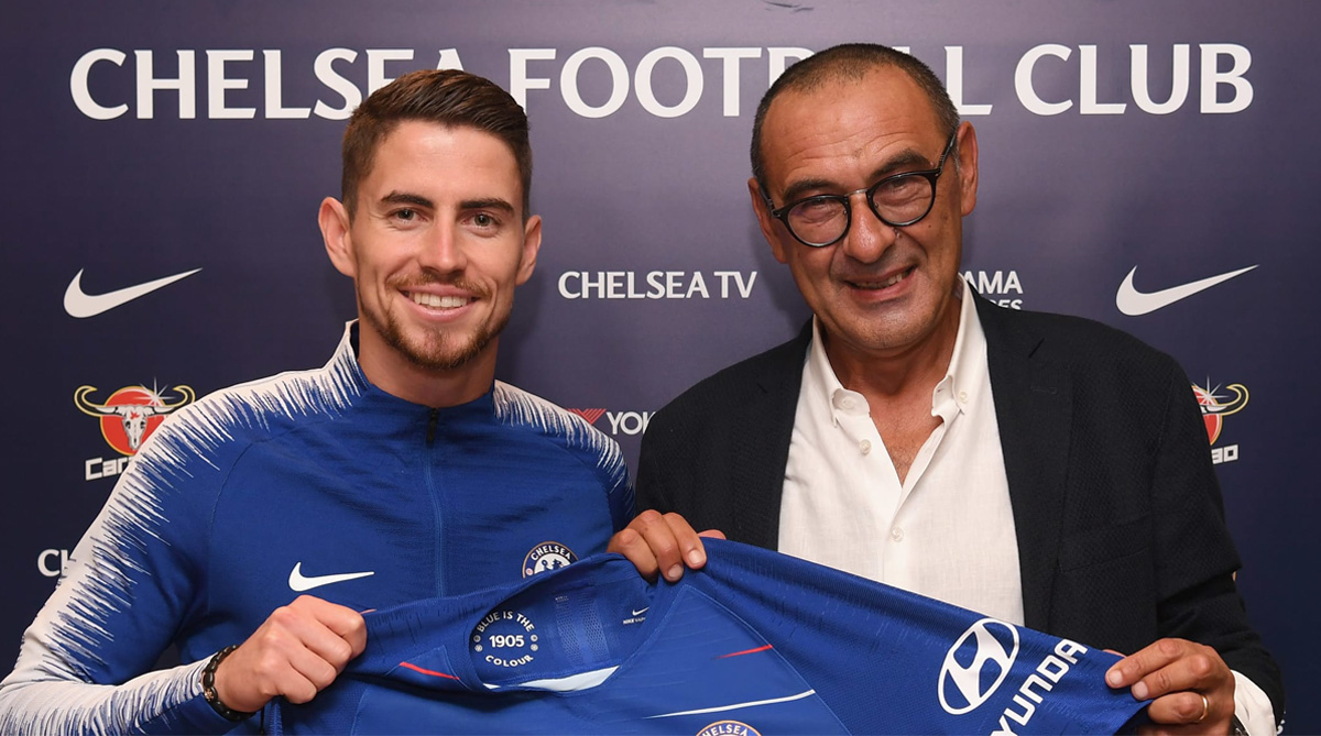 Jorginho and Maurizio Sarri, Chelsea F.C., Premier League, Marcos Alonso