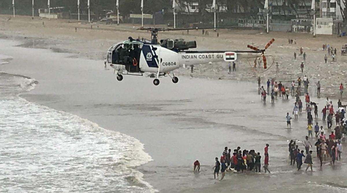 Mumbai: Rescue operations underway to fish out the bodies of three teenagers who had drowned off the famed Juhu Beach in Mumbai on July 6, 2018. (Photo: IANS)