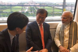 PM Modi, South Korean President Moon Jae-in travel in Delhi Metro to Noida