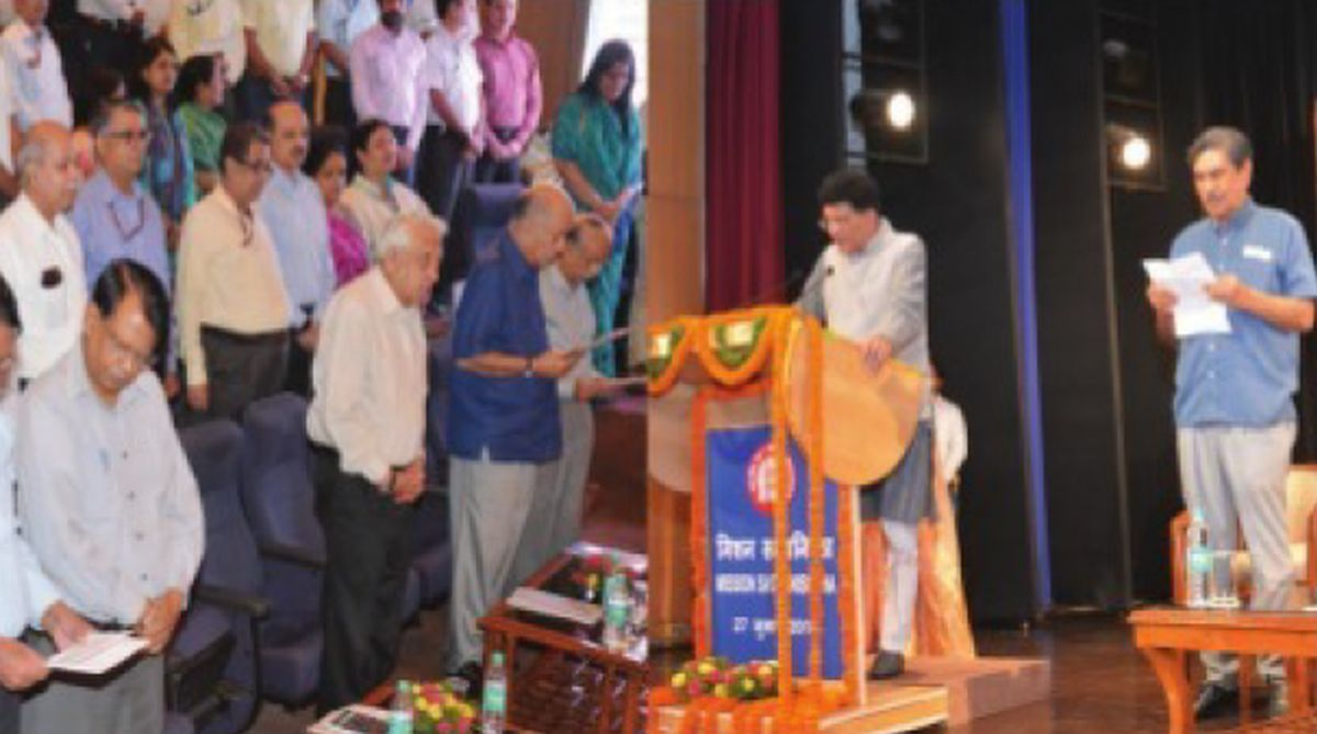Railway Minister Piyush Goyal administering the ethics pledge to an officer on Friday.