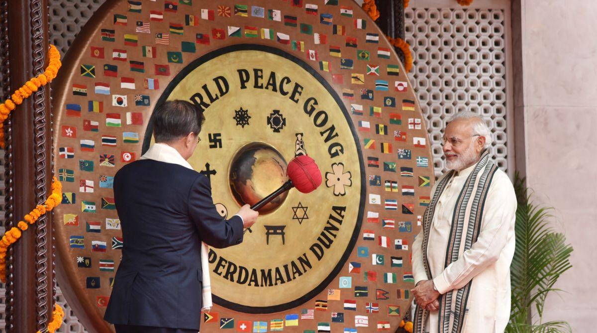 Prime Minister Narendra Modi and President of Republic of South Korea Moon Jae-in