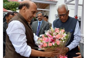 Rajnath Singh in J-K, discusses security situation with Governor Vohra
