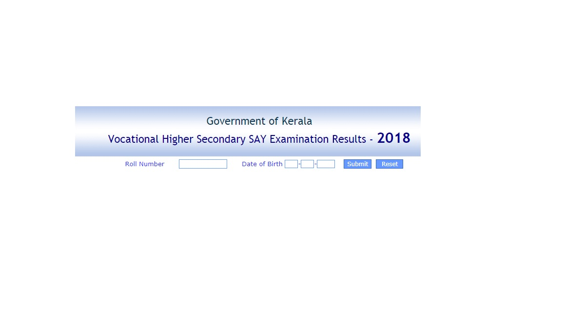KERALA, VHSE SAY result, keralaresults.nic.in, Kerala SAY results 2018