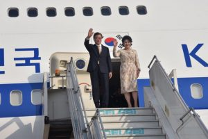 South Korean President Moon Jae-in arrives in India for four-day visit