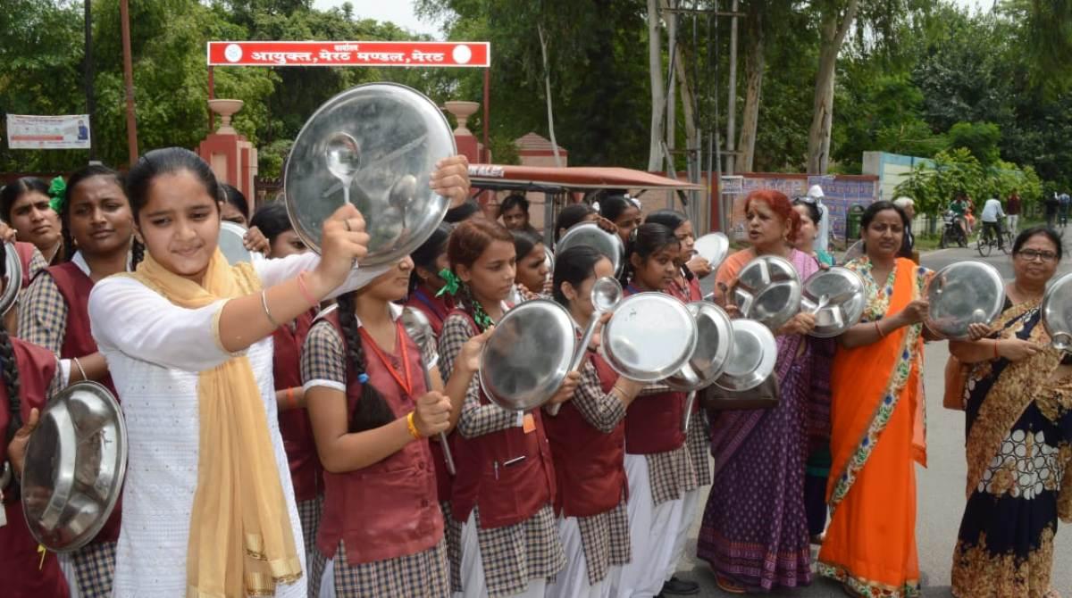 Thali protest Meerut