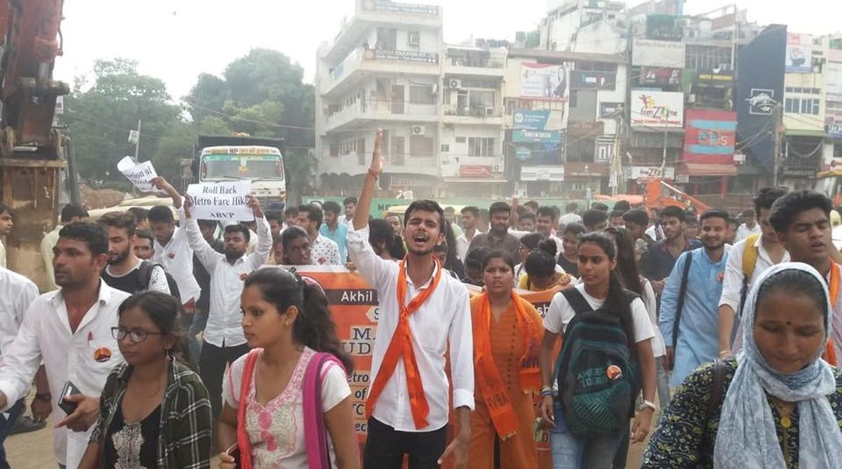 Metro fare hike, ABVP, ABVP south campus, DU hostels, Vishal Upadhyay
