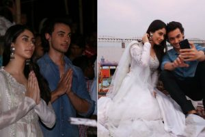 Loveratri: Aayush Sharma and Warina Hussain attend Ganga Aarti in Varanasi