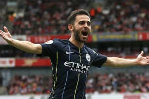 Goalscorers Bernardo Silva, Raheem Sterling react to Manchester City's win over Arsenal