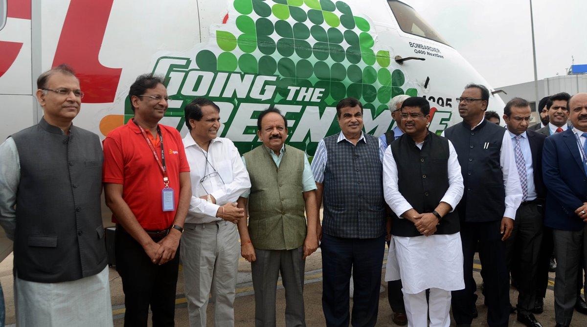 SpiceJet, Civil Aviation Minister, Suresh Prabhu, bio-fuel flight, India bio-fuel flight, Aviation action plan