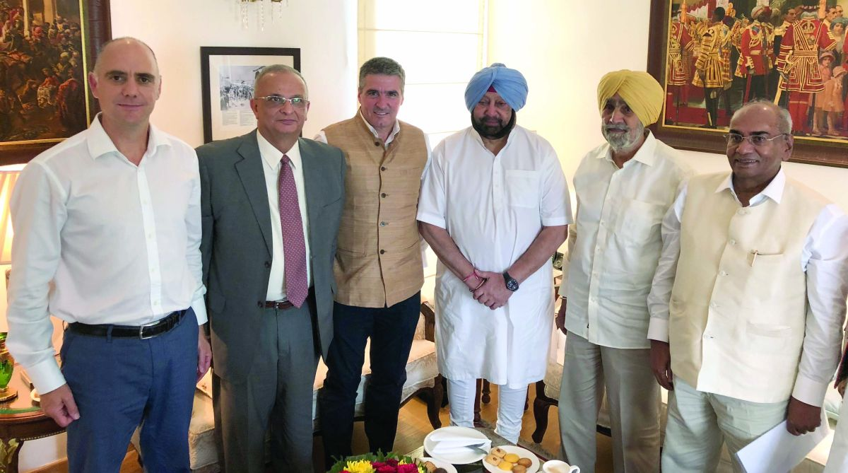 Spanish company Congelados De Navarra's delegation led by Director General Berito Jimmez with Punjab Chief Minister Amarinder Singh in Chandigarh on Wednesday. (Photo: SNS)