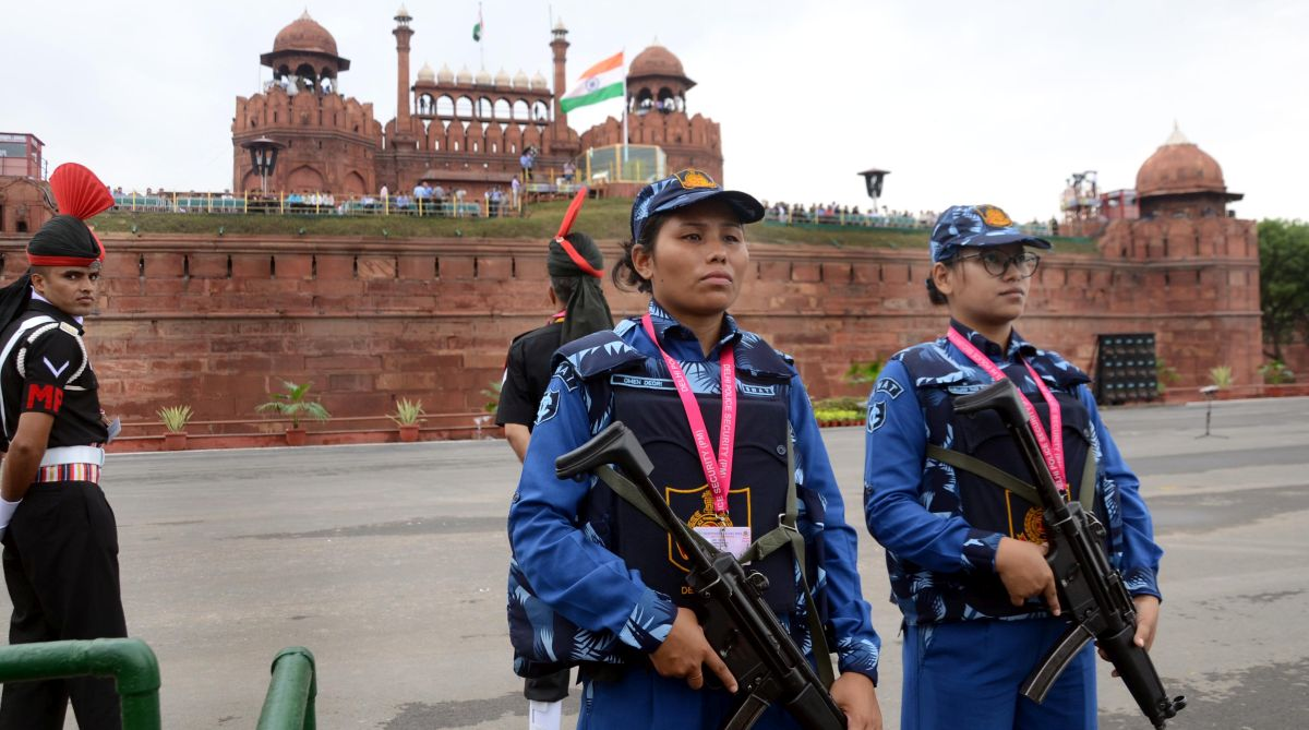 All-women SWAT team personnel guard during the full-dress rehearsal for the 72nd Independence Day function at the historic Red Fort in New Delhi on Monday