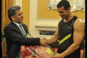 John Abraham meets J-K Governor's adviser in Srinagar