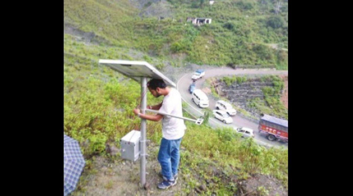 Landslide monitoring and warning system deployed along Mandi Jogindarnagar highway.