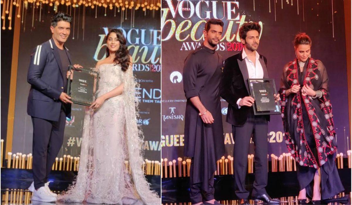 Manish Malhotra, Janhvi Kapoor, Kartik Aaryan, Neha Dhupia, Angad Bedi