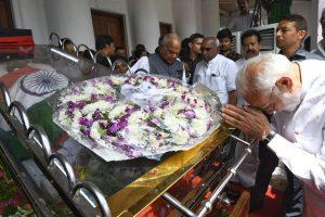 PM Narendra Modi pays homage to Karunanidhi