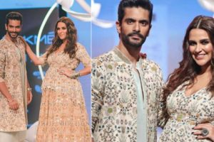 In Pictures | Parents-to-be Angad Bedi and Neha Dhupia grace the ramp at Lakme Fashion Week 2018