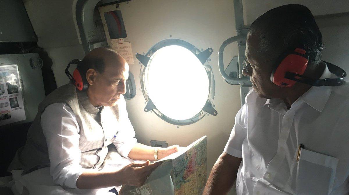 Kerala floods, Rajnath Singh, Aerial survey, CM Vijayan