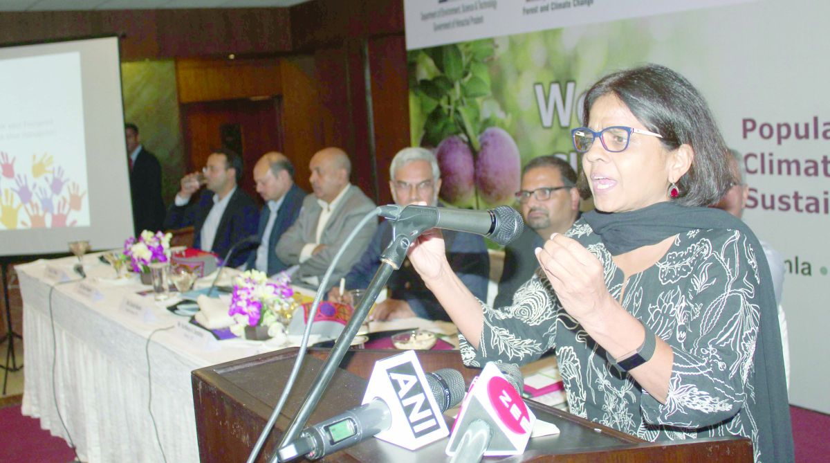 CSE director general Sunita Narain addressing a press conference in Shimla on Wednesday. (Photo: SNS)