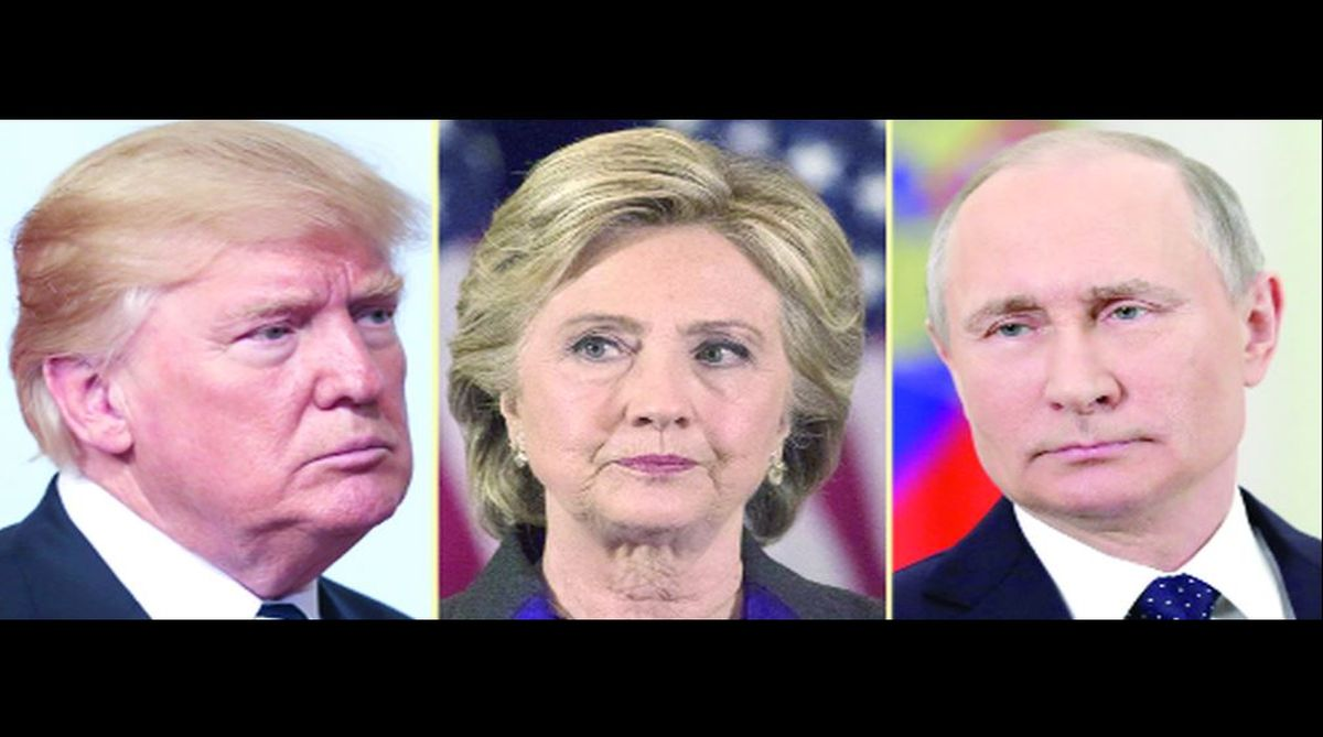 US President Donald Trump, Hillary Clinton and Vladimir Putin.