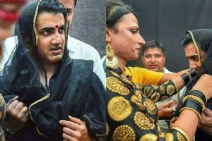 Gautam Gambhir wears saree, bindi to support transgenders at Hijra Habba