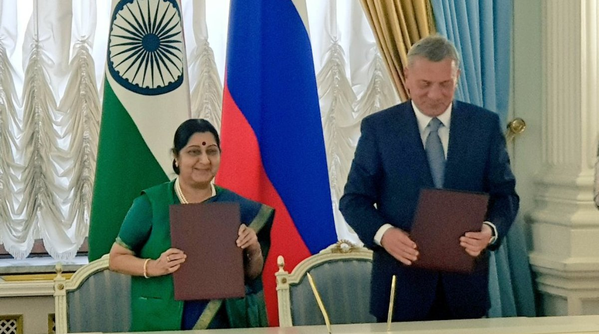 India-Russia, $50 billion investment, 2025, Sushma Swaraj