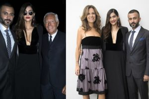 Sonam, Anand pose with Giorgio Armani, Cate Blanchett at Milan Fashion Week