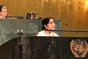 Pakistan is an expert at hiding its evil face behind a mask: Sushma Swaraj at UNGA