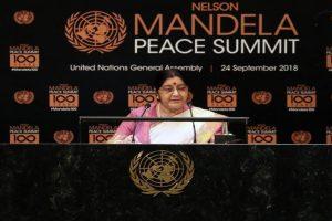 Proud to call Nelson Mandela a Bharat Ratna, Sushma Swaraj at UNGA 2018