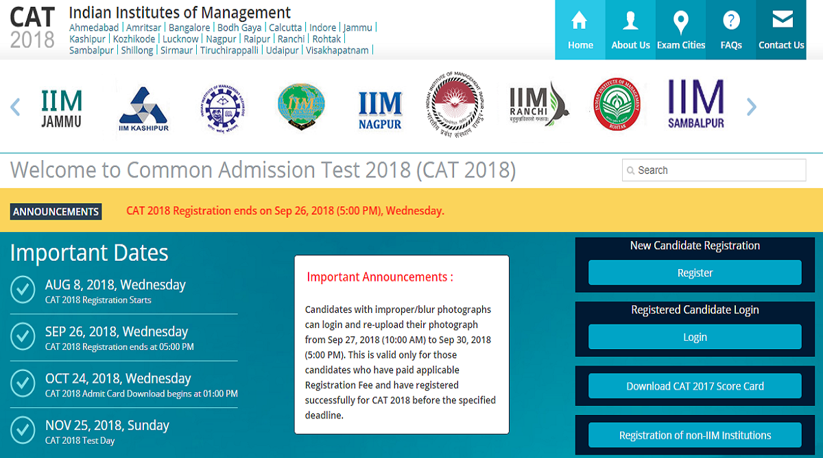 CAT 2018 registration, iimcat.in