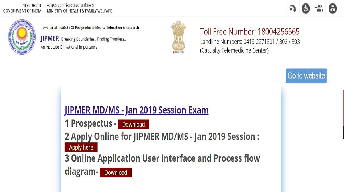 JIPMER PG admissions 2019: Online application process begins